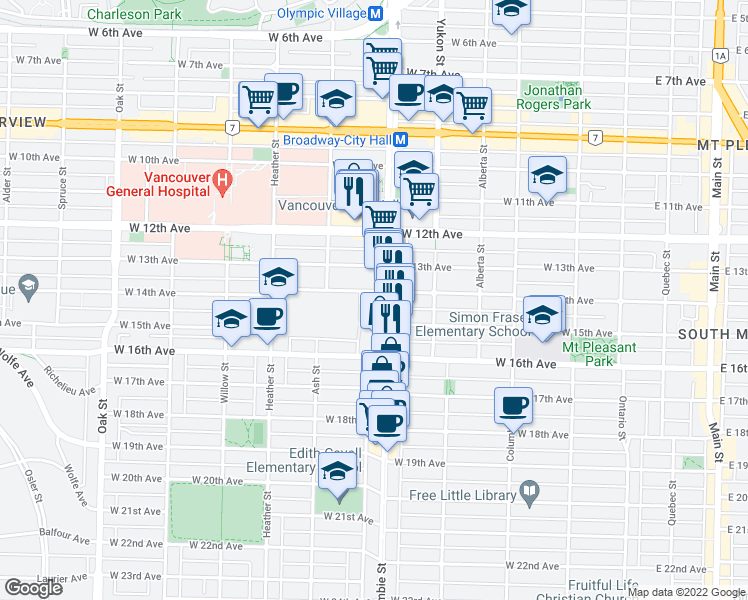map of restaurants, bars, coffee shops, grocery stores, and more near 518 West 14th Avenue in Vancouver