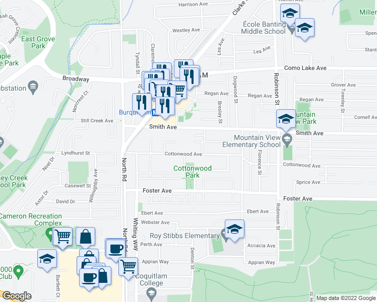 map of restaurants, bars, coffee shops, grocery stores, and more near 607 Cottonwood Avenue in Coquitlam