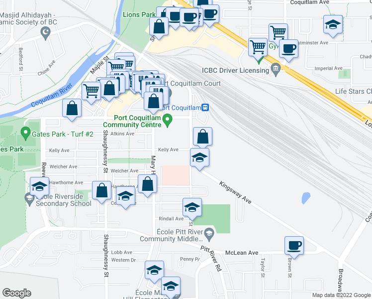 map of restaurants, bars, coffee shops, grocery stores, and more near 2180 Kelly Avenue in Port Coquitlam