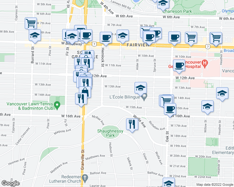 map of restaurants, bars, coffee shops, grocery stores, and more near 1309 West 14th Avenue in Vancouver