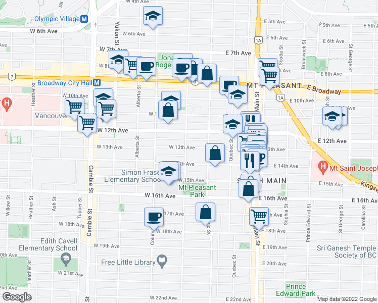 map of restaurants, bars, coffee shops, grocery stores, and more near 2908 Manitoba Street in Vancouver