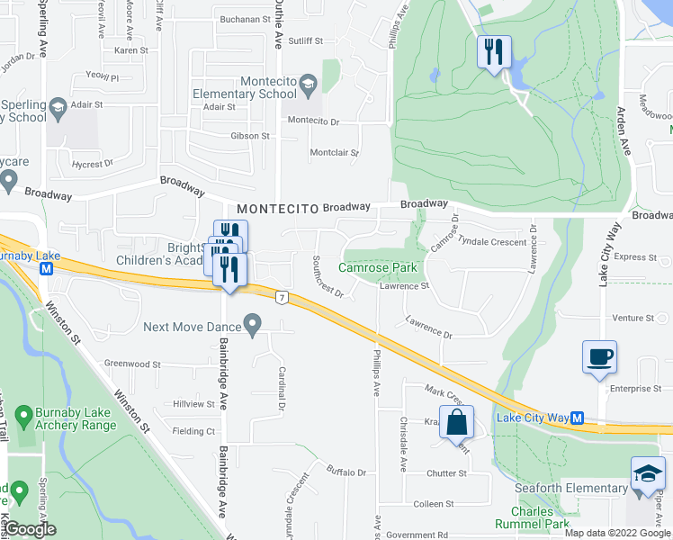 map of restaurants, bars, coffee shops, grocery stores, and more near 2755 Phillips Avenue in Burnaby