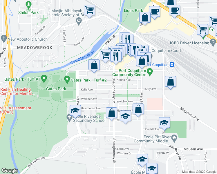 map of restaurants, bars, coffee shops, grocery stores, and more near 2331 Kelly Avenue in Port Coquitlam