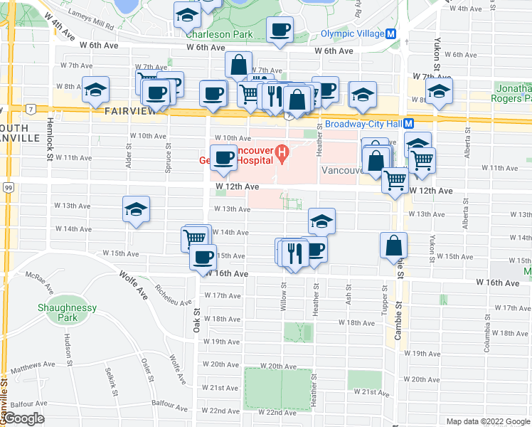 map of restaurants, bars, coffee shops, grocery stores, and more near 846 West 13th Avenue in Vancouver