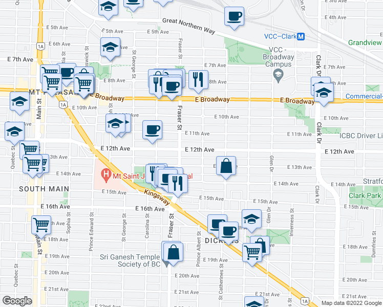 map of restaurants, bars, coffee shops, grocery stores, and more near 750 East 12th Avenue in Vancouver