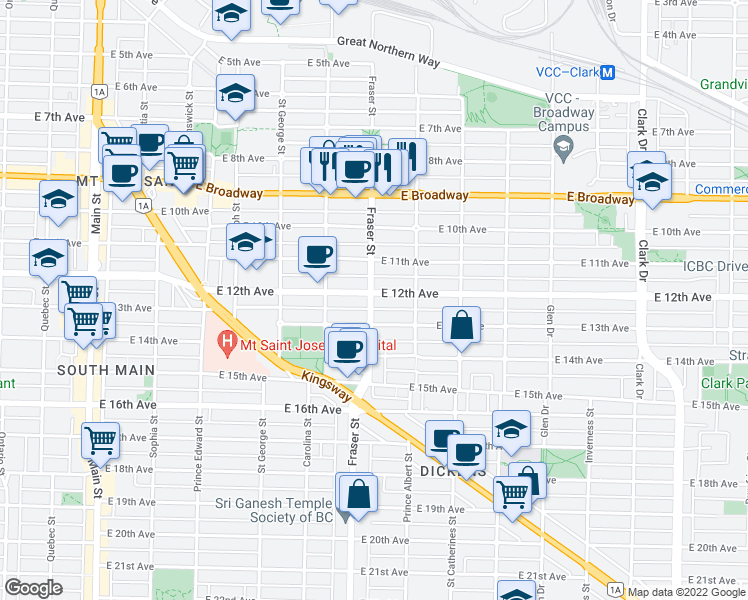 map of restaurants, bars, coffee shops, grocery stores, and more near 2808 Fraser Street in Vancouver