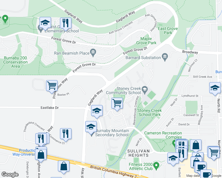 map of restaurants, bars, coffee shops, grocery stores, and more near 8750 Centaurus Circle in Burnaby