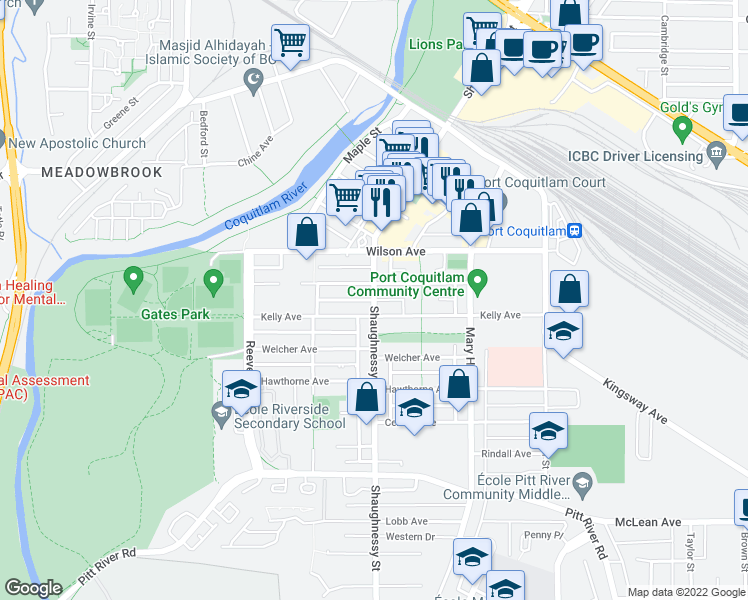 map of restaurants, bars, coffee shops, grocery stores, and more near 2446 Shaughnessy Street in Port Coquitlam