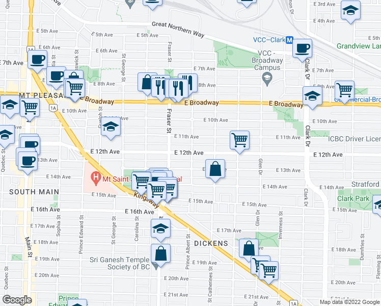 map of restaurants, bars, coffee shops, grocery stores, and more near 794 East 12th Avenue in Vancouver