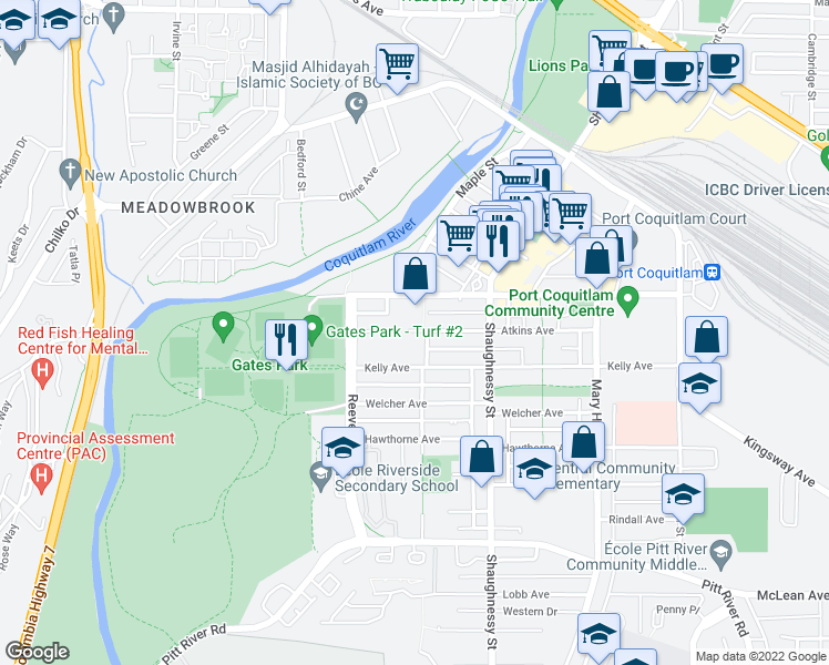 map of restaurants, bars, coffee shops, grocery stores, and more near 2433 Kelly Avenue in Port Coquitlam