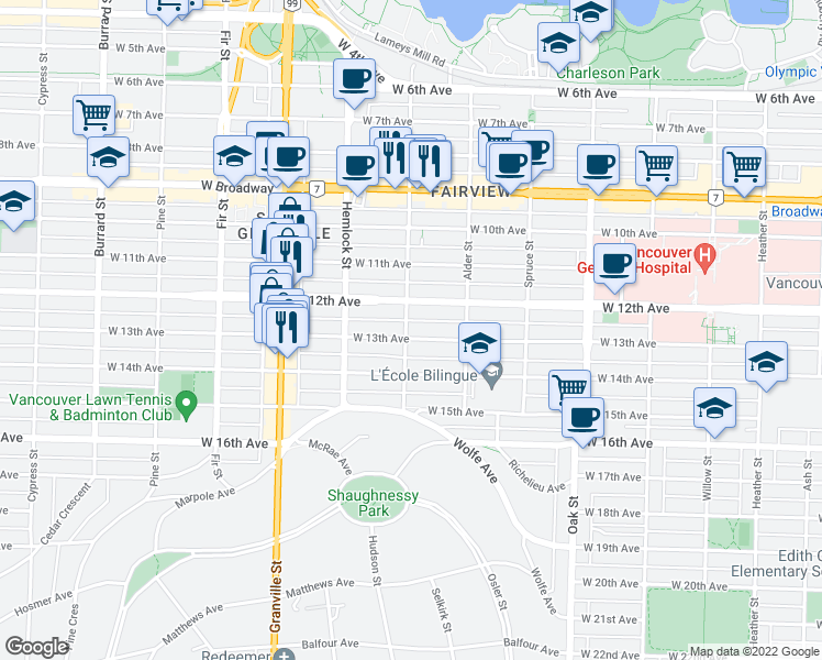 map of restaurants, bars, coffee shops, grocery stores, and more near 2888 Birch Street in Vancouver