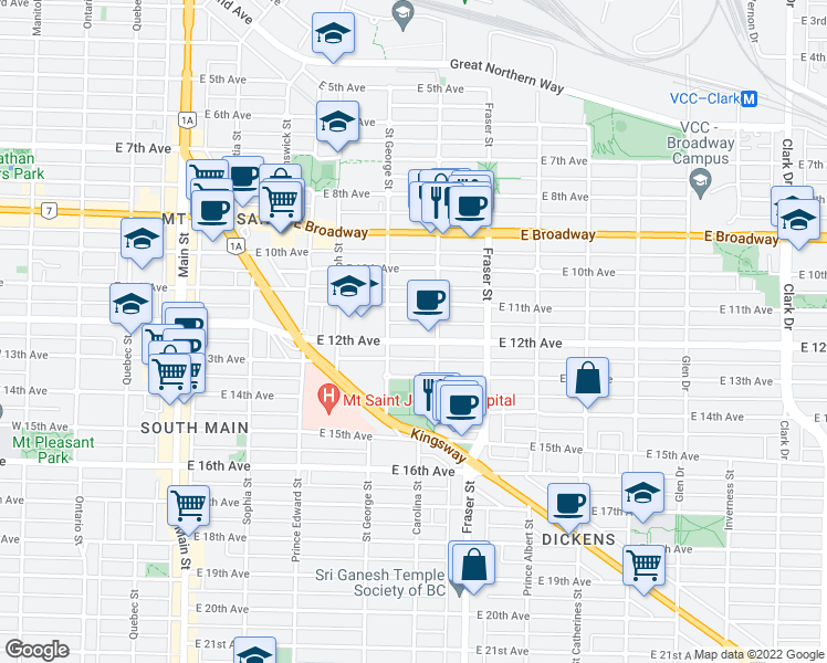 map of restaurants, bars, coffee shops, grocery stores, and more near 551 East 12th Avenue in Vancouver