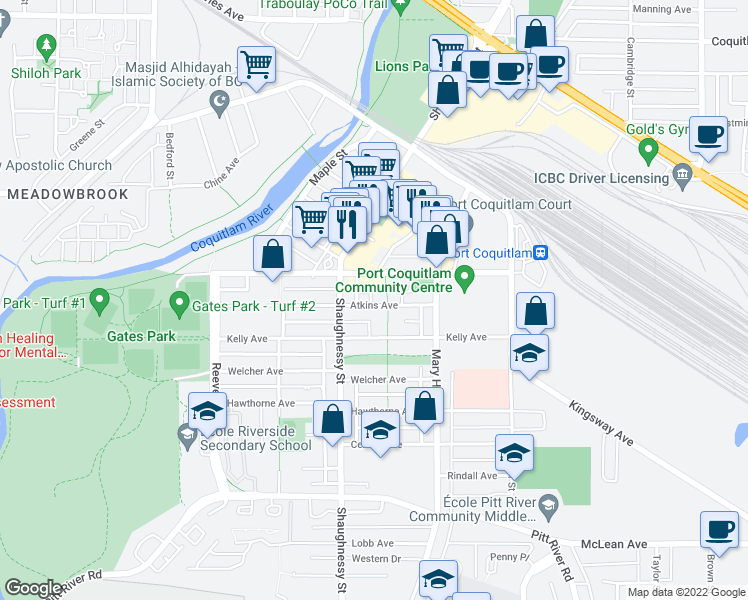 map of restaurants, bars, coffee shops, grocery stores, and more near 2265 Atkins Avenue in Port Coquitlam