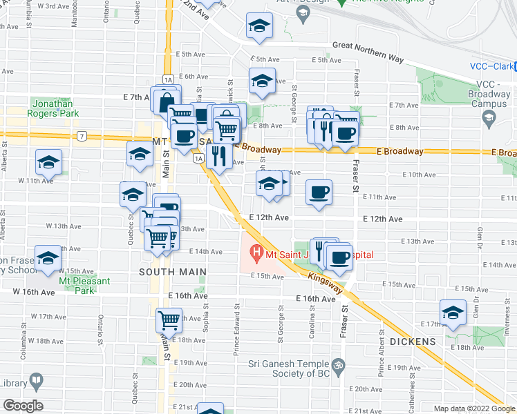 map of restaurants, bars, coffee shops, grocery stores, and more near 2759 Guelph Street in Vancouver