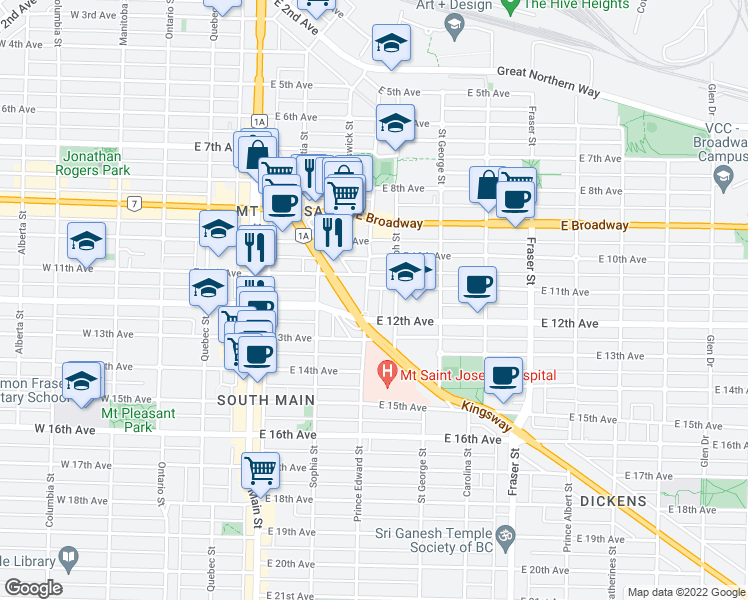map of restaurants, bars, coffee shops, grocery stores, and more near 2788 Prince Edward Street in Vancouver