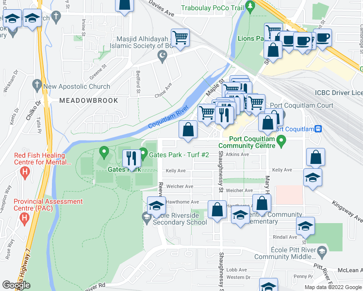 map of restaurants, bars, coffee shops, grocery stores, and more near 2440 Wilson Avenue in Port Coquitlam