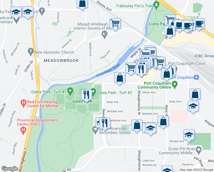 map of restaurants, bars, coffee shops, grocery stores, and more near 2484 Wilson Avenue in Port Coquitlam