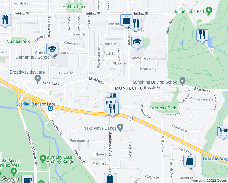 map of restaurants, bars, coffee shops, grocery stores, and more near 2620 Bainbridge Avenue in Burnaby