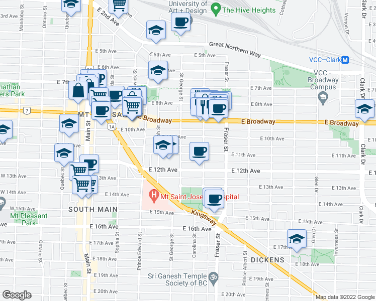 map of restaurants, bars, coffee shops, grocery stores, and more near 523 East 11th Avenue in Vancouver