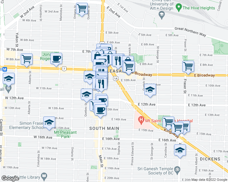 map of restaurants, bars, coffee shops, grocery stores, and more near 282 East 11th Avenue in Vancouver
