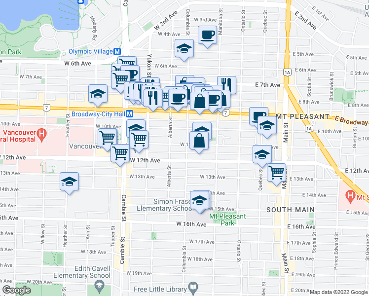 map of restaurants, bars, coffee shops, grocery stores, and more near 2733 Columbia Street in Vancouver