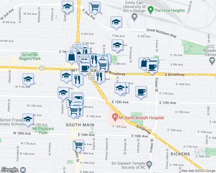 map of restaurants, bars, coffee shops, grocery stores, and more near 2635 Prince Edward Street in Vancouver