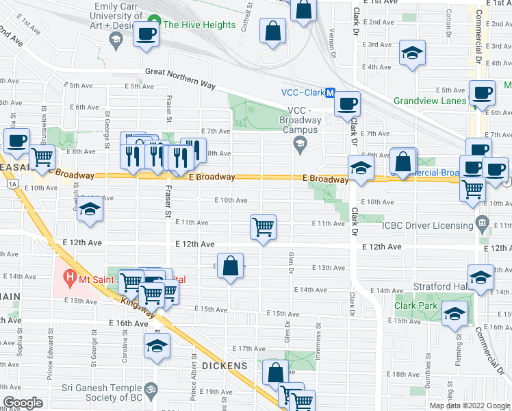 map of restaurants, bars, coffee shops, grocery stores, and more near 986 East 10th Avenue in Vancouver