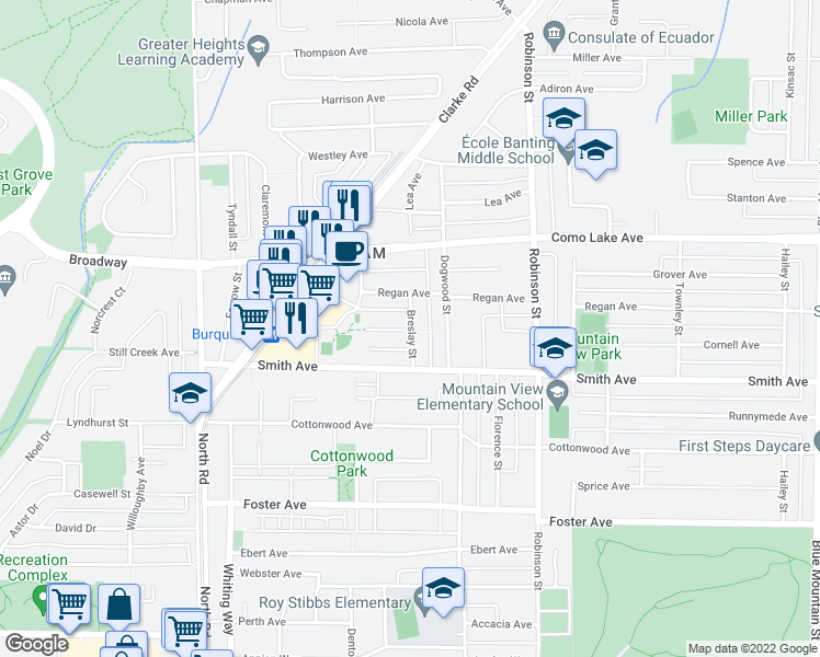 map of restaurants, bars, coffee shops, grocery stores, and more near 719 Breslay Street in Coquitlam