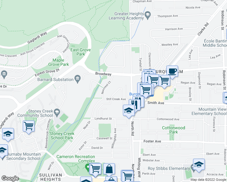 map of restaurants, bars, coffee shops, grocery stores, and more near 2519 Larkin Court in Burnaby