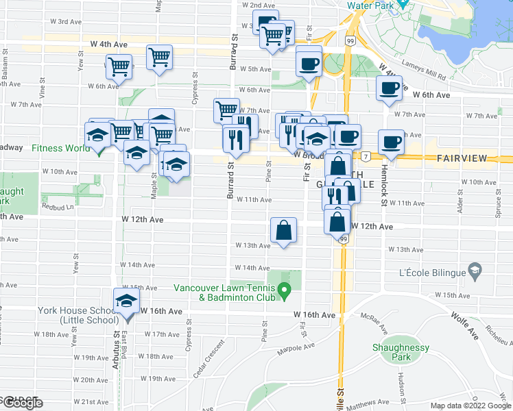 map of restaurants, bars, coffee shops, grocery stores, and more near 1726 West 11th Avenue in Vancouver