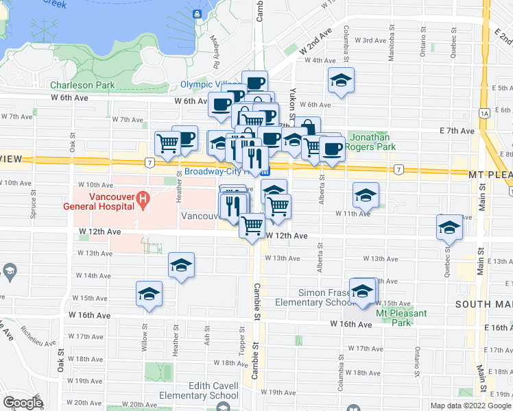map of restaurants, bars, coffee shops, grocery stores, and more near 2601 Cambie Street in Vancouver