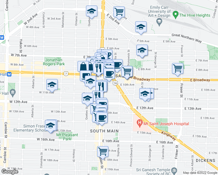 map of restaurants, bars, coffee shops, grocery stores, and more near 238 East 10th Avenue in Vancouver