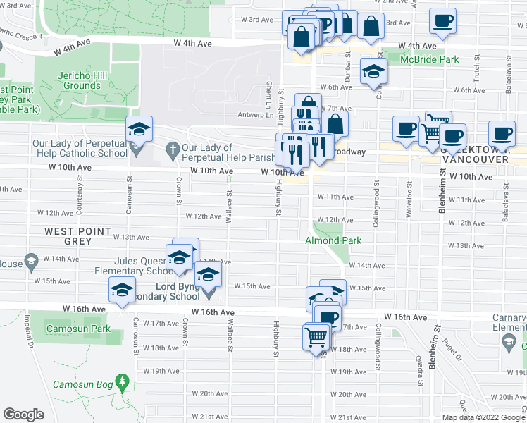 map of restaurants, bars, coffee shops, grocery stores, and more near 3827 West 12th Avenue in Vancouver