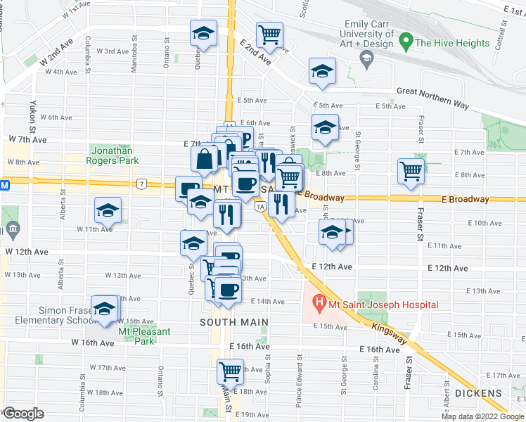 map of restaurants, bars, coffee shops, grocery stores, and more near 285 East 10th Avenue in Vancouver