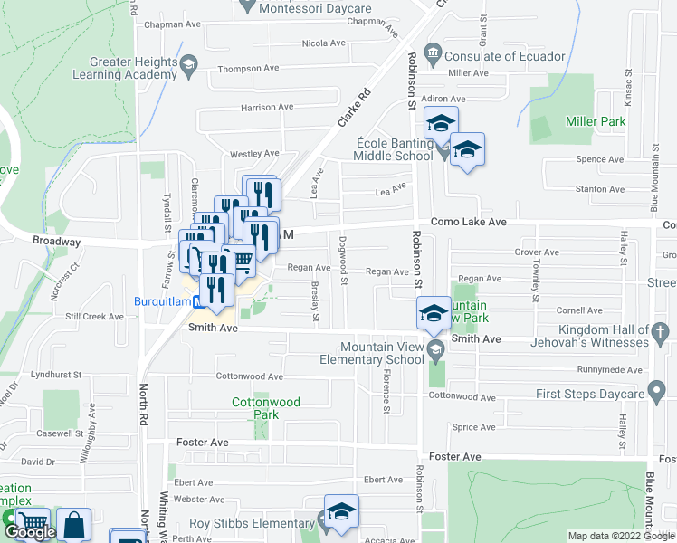 map of restaurants, bars, coffee shops, grocery stores, and more near 638 Regan Avenue in Coquitlam