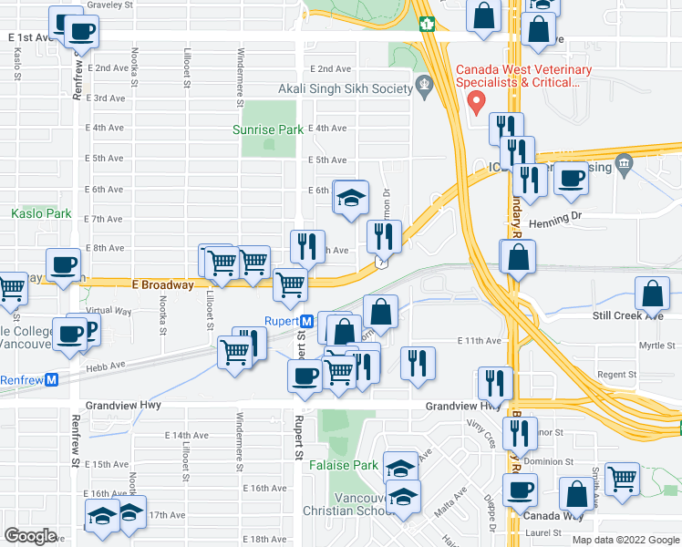 map of restaurants, bars, coffee shops, grocery stores, and more near 3367 East Broadway in Vancouver