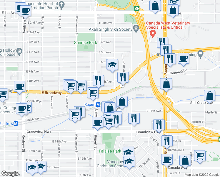 map of restaurants, bars, coffee shops, grocery stores, and more near 3375 East Broadway in Vancouver