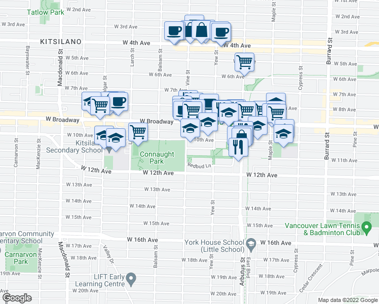 map of restaurants, bars, coffee shops, grocery stores, and more near 2688 Vine Street in Vancouver