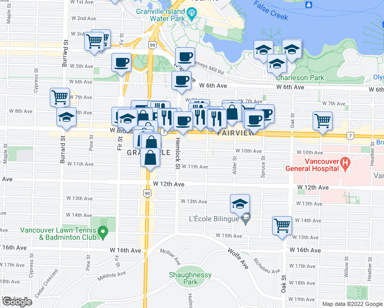 map of restaurants, bars, coffee shops, grocery stores, and more near 1352 West 10th Avenue in Vancouver