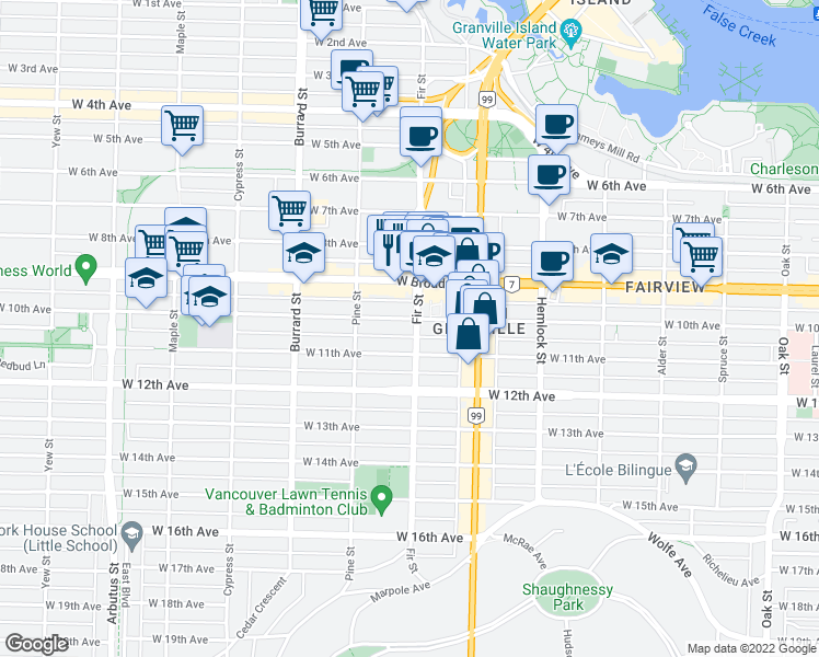 map of restaurants, bars, coffee shops, grocery stores, and more near 1606 West 10th Avenue in Vancouver