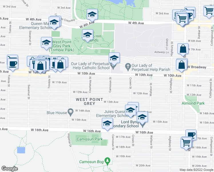 map of restaurants, bars, coffee shops, grocery stores, and more near 4112 West 11th Avenue in Vancouver