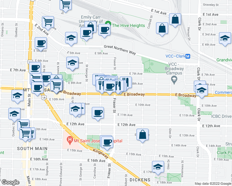 map of restaurants, bars, coffee shops, grocery stores, and more near 2508 Fraser Street in Vancouver