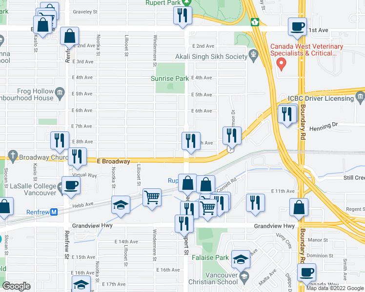 map of restaurants, bars, coffee shops, grocery stores, and more near 2411 Rupert Street in Vancouver
