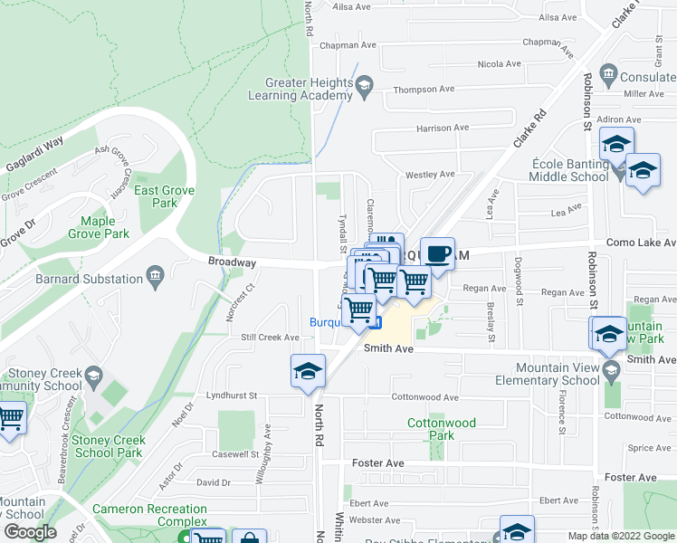 map of restaurants, bars, coffee shops, grocery stores, and more near 730 Farrow Street in Coquitlam