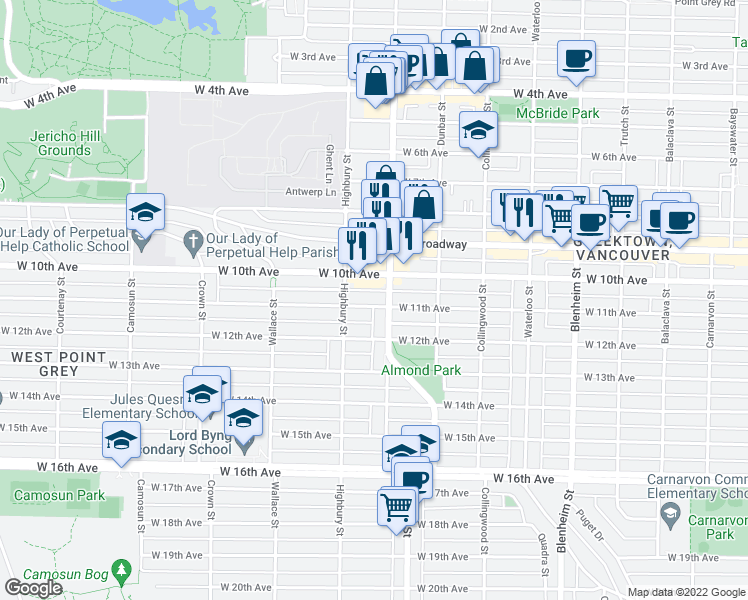 map of restaurants, bars, coffee shops, grocery stores, and more near 3721 West 11th Avenue in Vancouver
