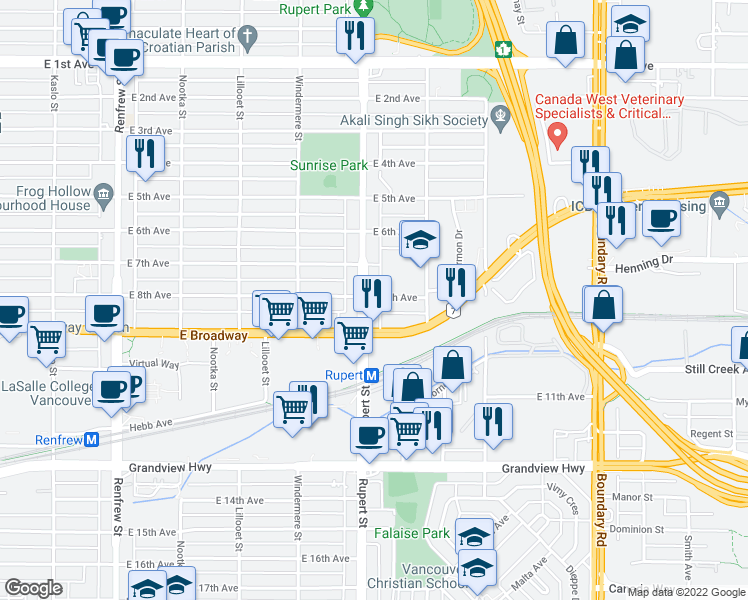 map of restaurants, bars, coffee shops, grocery stores, and more near 3306 East 8th Avenue in Vancouver