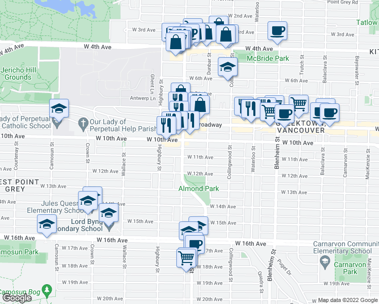 map of restaurants, bars, coffee shops, grocery stores, and more near 3669 West 11th Avenue in Vancouver