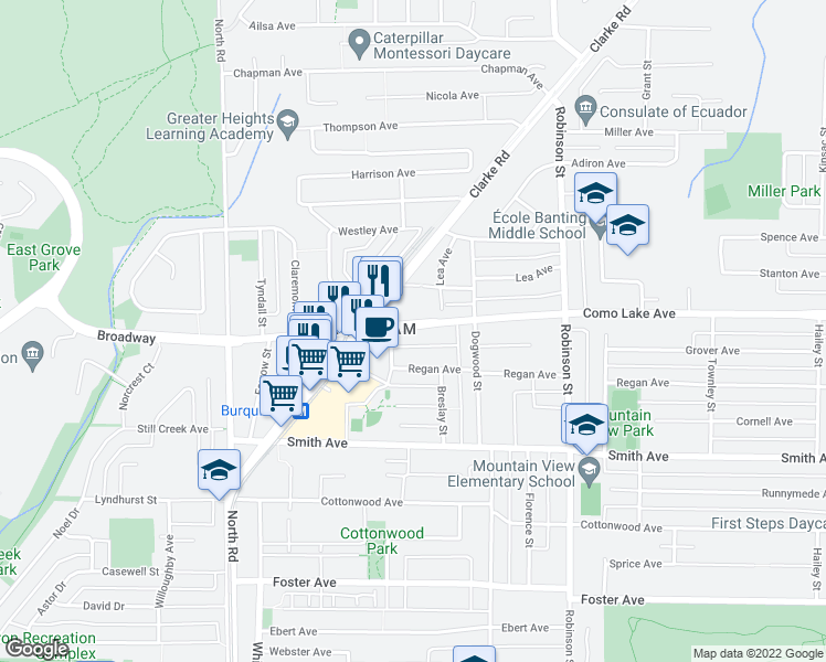 map of restaurants, bars, coffee shops, grocery stores, and more near 608 Como Lake Avenue in Coquitlam