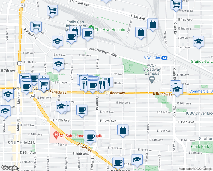 map of restaurants, bars, coffee shops, grocery stores, and more near 788 East 8th Avenue in Vancouver