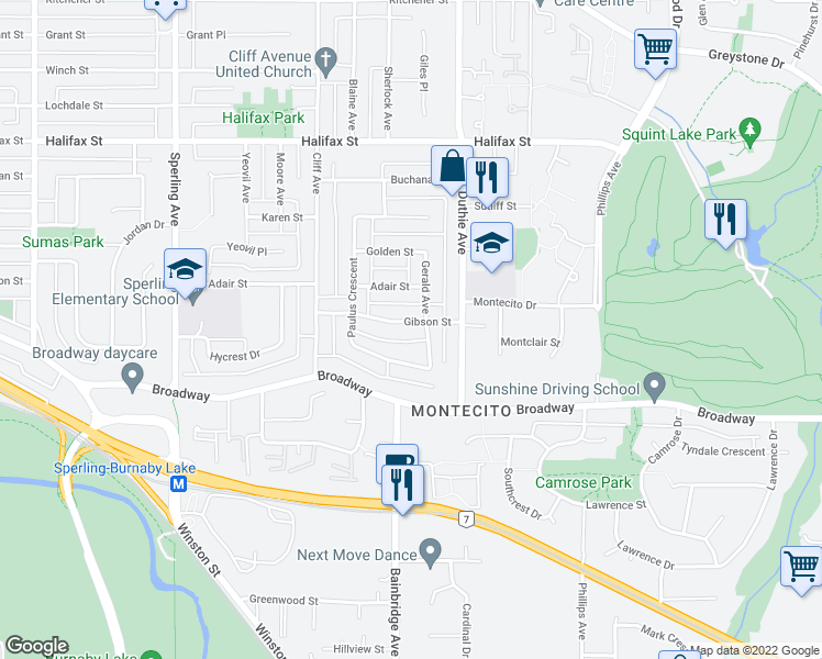 map of restaurants, bars, coffee shops, grocery stores, and more near 7130 Gibson Street in Burnaby